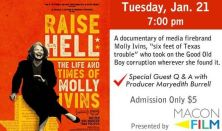 "Macon Film Guild Presents: ""Raise Hell - The Life & Times of Molly Ivins"""